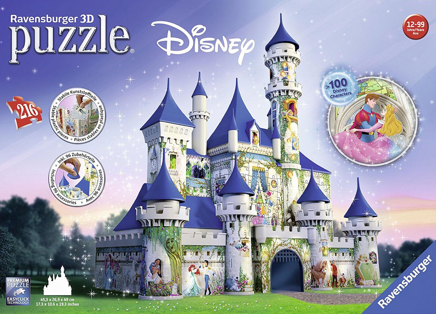 ravensburger 3d puzzles cinderella's castle, rare disney puzzle, three-dimensional 3d jigsaw puzzles cinderellascastle-3d