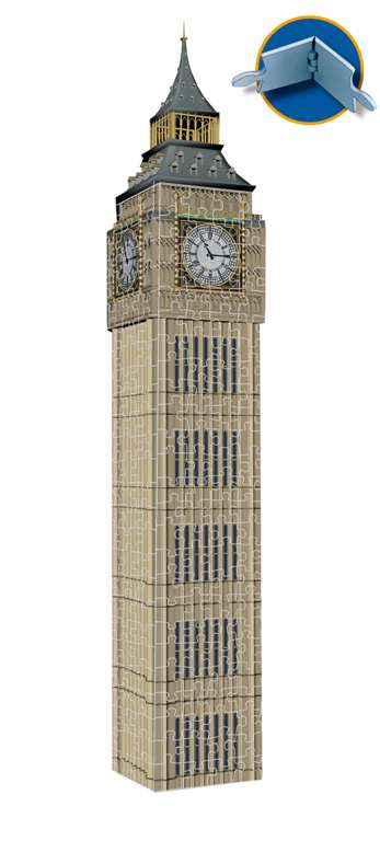 big ben 3d puzzle by ravensburger, 3diemnsional jigsaw puzzle, 216 pieces, 16inches high, puzz3d by  big-ben-ravensburger