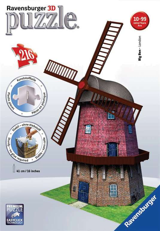 3d jigsaw puzzle of a windmill by ravensburger 3D wrebbit is dead and ravens is taking over where th windmill-ravensburger-3d