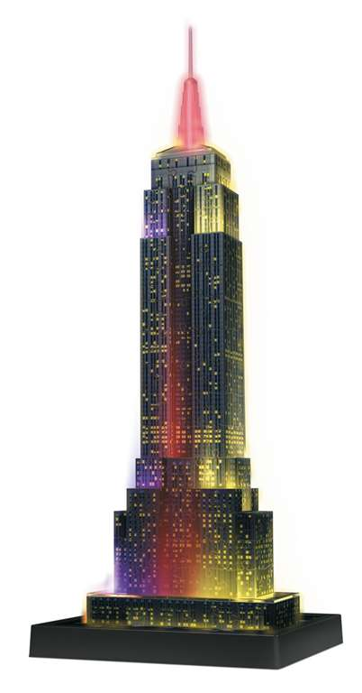 empire state building night edition 3d jigsaw puzzle by ravensburger, 216 pieces, ages 12-99 empire-state-building-night-3d