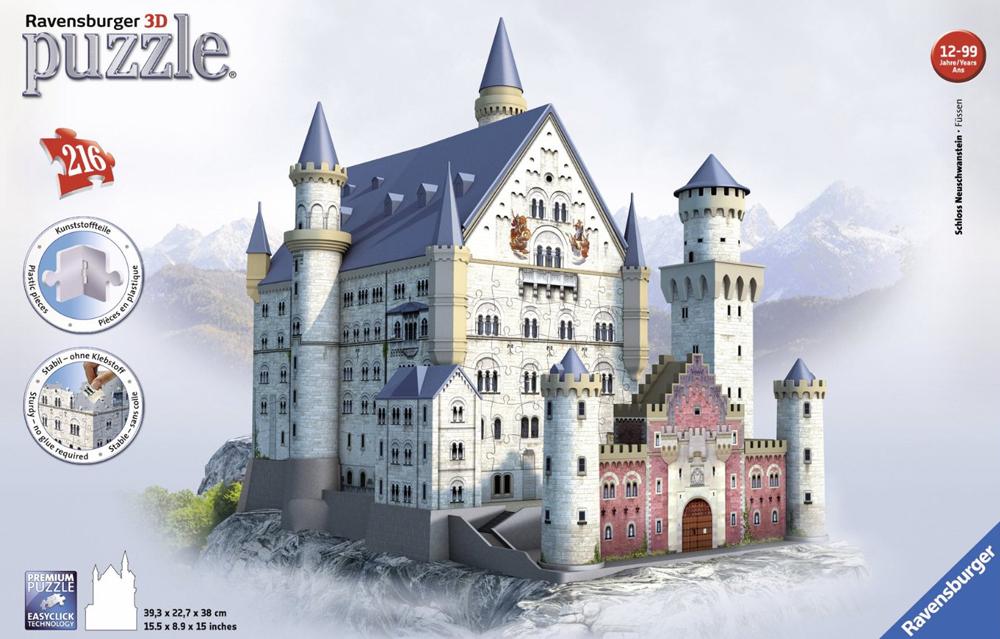 3d jigsaw puzzles of castles, neuschwanstein castle, jigsaw puzzles by ravensburger puzz3d neuschwanstein-castle-3d-ravensburger