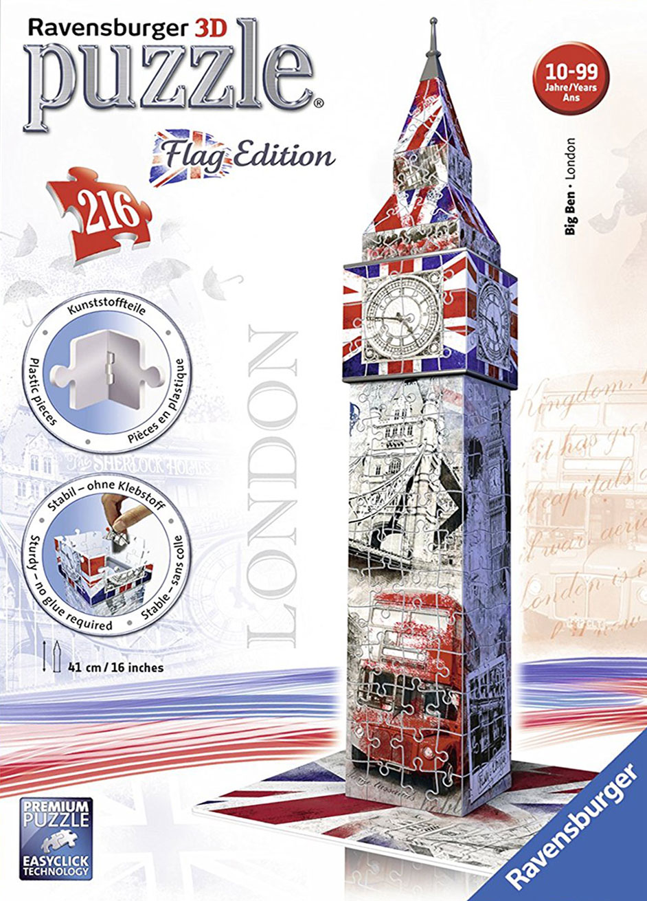 big ben flag edition 3d puzzle by ravensburger, 3diemnsional jigsaw puzzle, 216 pieces, 16inches big-ben-flag-edition