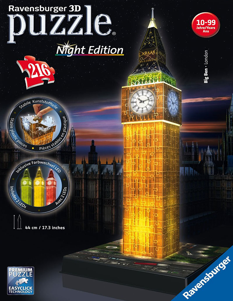 big ben night edition 3d puzzle by ravensburger, 3diemnsional jigsaw puzzle, 216 pieces big-ben-night-edition