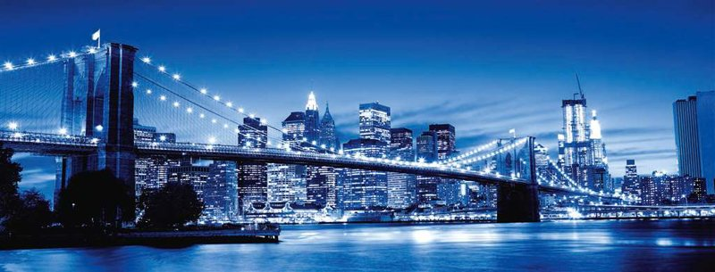 Twilight in New York 1000 Piece Panoramic jigsaw puzzle made by Ravensburger twilight-new-york