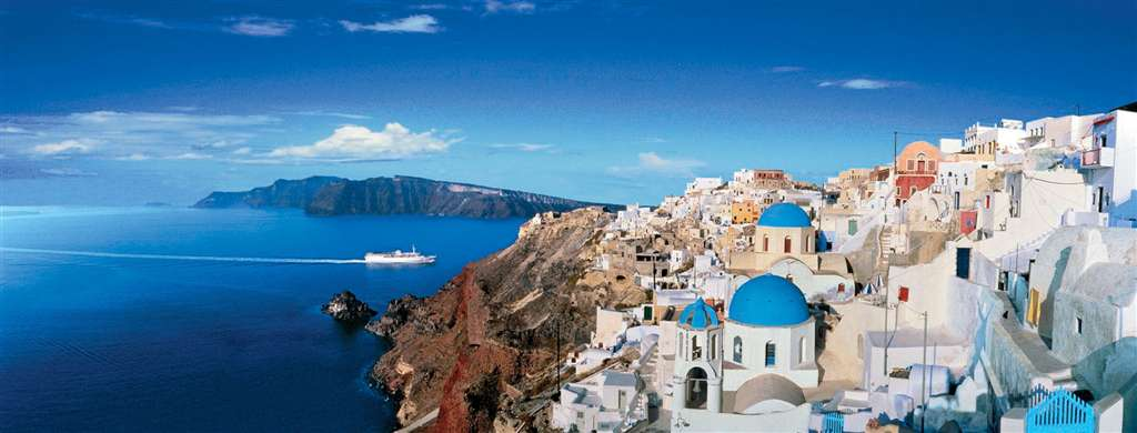 panoramic jigsaw puzzle of santorini, greece ravensburger 1000 pieces photo by mark segal panoramasantorinigreece