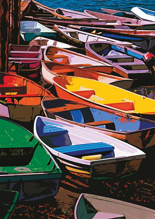 dories of maine boats by painter Lewis T. Johnson 1000 Piece Jigsaw Puzzle by Ravensberger Puzzles dories-of-maine