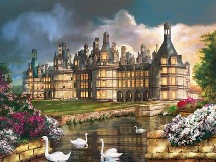 Artists rendition of Charming Chateau de Chambord jigsawpuzzle by RavensburgerPuzzles charmingchateaudechambord