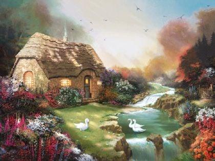 Painter of Light Thomas Kinkade's Idyllic Cottage 1000 Piece Jigsaw Puzzle by Ravensburger Games idylliccottage