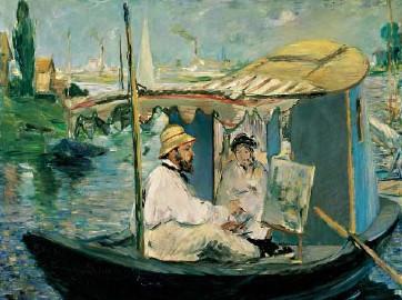 Monet Painting in His Floating Studio by Edouard Manet Jigsaw Puzzle by RavensburgerPuzzles monetpaintinginhisfloatingstudio