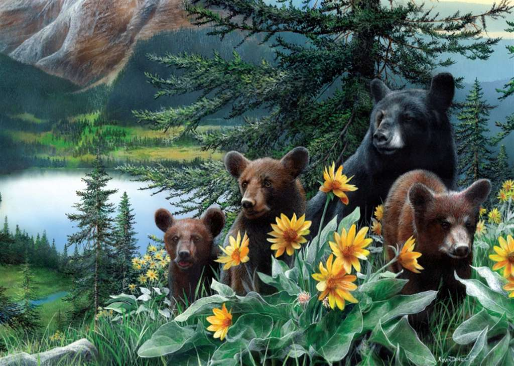 Ravesburger JigsawPuzzle 1000 pieces sunflower bears kevin daniel beautiful colors 155591 sunflower-bears-1000