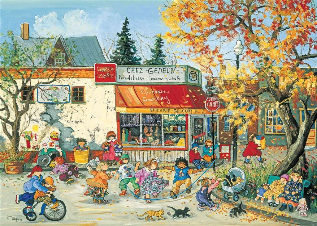 PaulinePaquin Quebec Artist Corner Store in Autumn Ravenbsurger JigsawPuzzles thousand pieces jigsaw corner-store-fall-pauline-paquin-puzzle