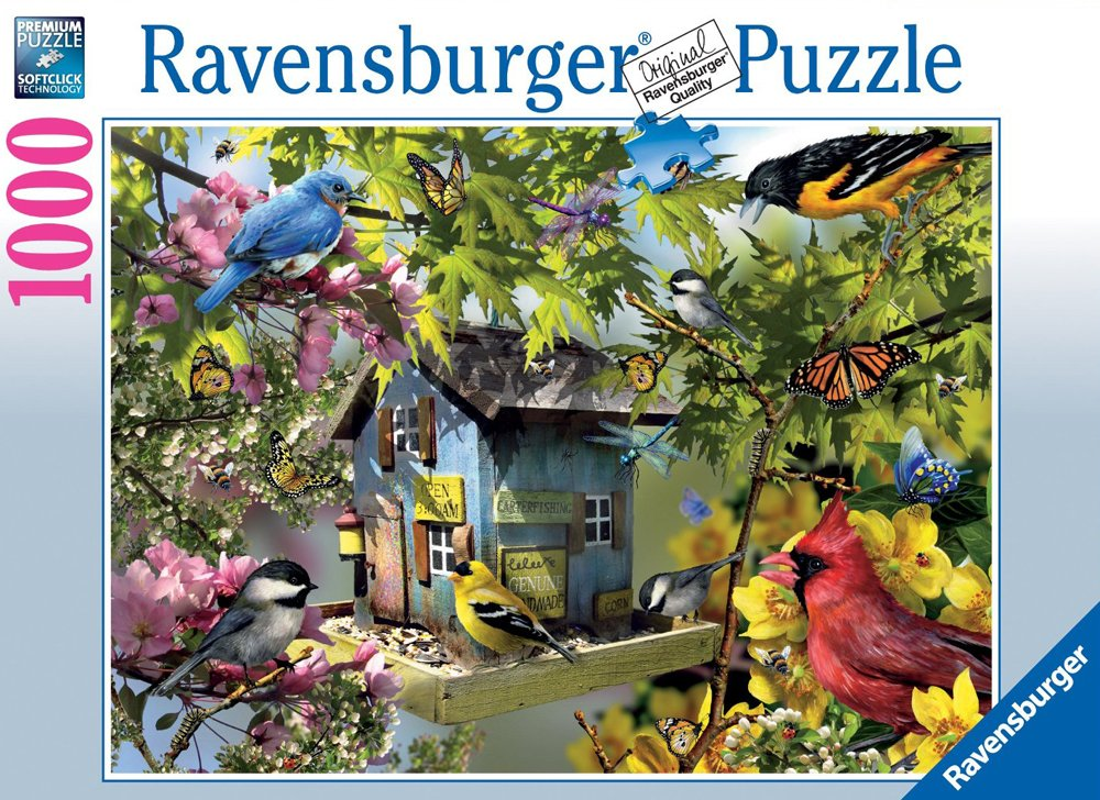 Time for Lunch Birds painted by artist Lori Schory ravensburger 1000 piece jigsaw puzzel # 156115 time-for-lunch