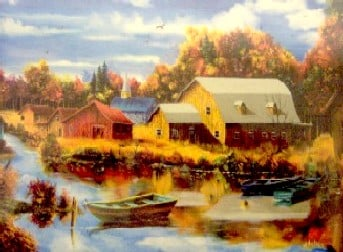 October Reflections 1000 Piece JigsawPuzzle painted by Andre Julien canadian painter Ravensburger october-reflections-andrejulien