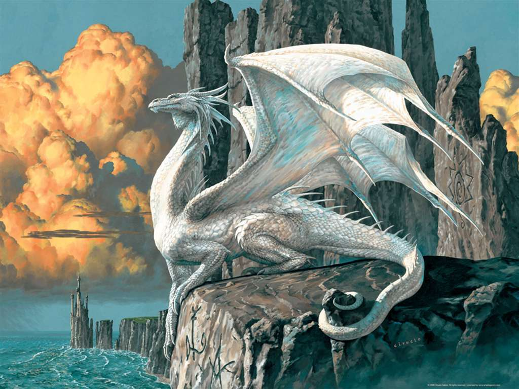 Dragon white fantasy artwork ciruelo cabral jigsawpuzzle by Ravensberger Games 2007 dragon