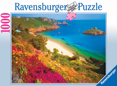 Portelet Bay, Island of Jersey Ravensburger 1000 Piece Jigsaw Jungle Puzzle # 156979 portelet-bay-island-jersey-puzzle