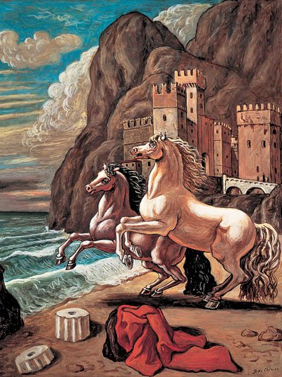 Giorgio de Chirico's surrealist painting 2 horses on a beach 1000 piece jigsawpuzzle by Ravensburger twohorsesonabeach