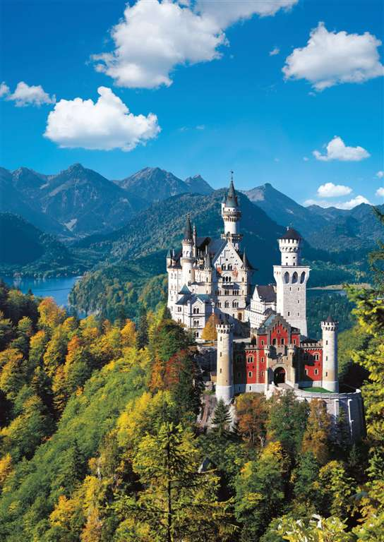 Neuschwanstien Castle in Autumn 1000 Piece Jigsaw Puzzle by Ravensburger Games neuschwanstein-castle-in-autumn-1000