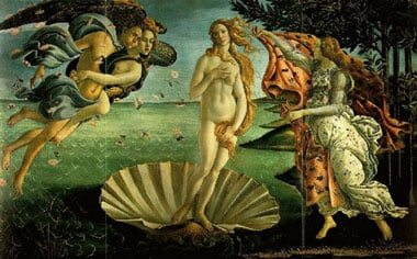 Sandro Boticelli's Birth of Venus thousandpiece jigsaw puzzle made by ravensburger jigsaws & puzzles birthofvenus