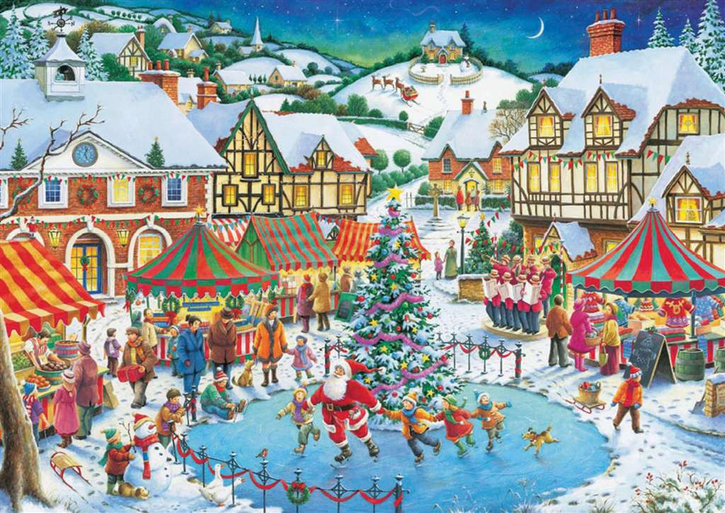 Roy Trower Artist joy of christmas santa is skating with kids christmas Ravenbsurger JigsawPuzzles t joy-of-christmas