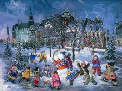 Pauline Paquin quebec artiste colorful paintings of chilhood joy brought to life in a special puzzle wintermagicoldmontreal