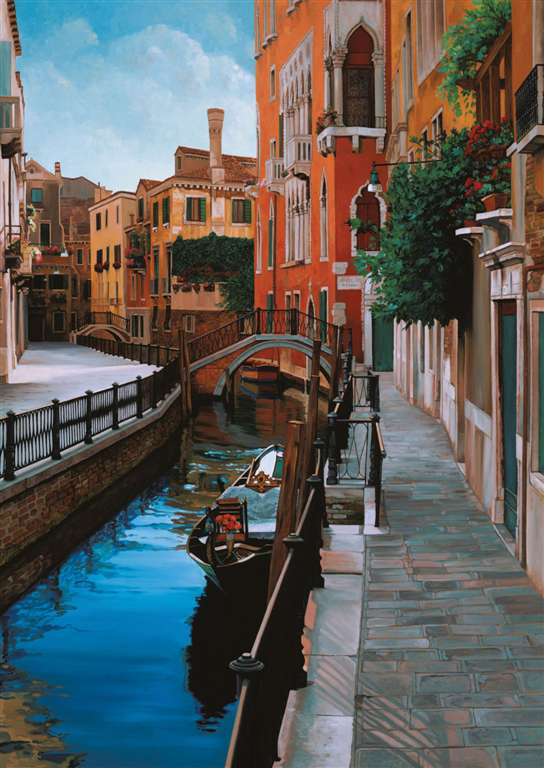 venetian impressions painting by JB Berkow. Beautiful life like shades 1000 piece jigsaw puzzle by R venetian-impressions