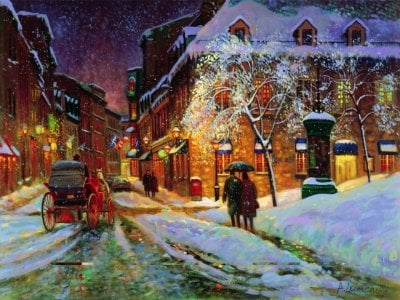 Andreis Lemanis Canadian Painter Winter Charm of Montreal 1000 Piece Jigsaw Puzzle by Ravensburger wintercharmofmontreal