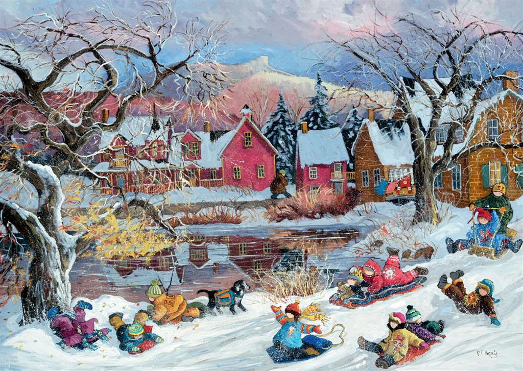 PaulinePaquin QuebecArtist Let's Slide Ravenbsurger JigsawPuzzles thousand pieces jigsaws puzzel lets-slide-pauline-paquin-puzzle