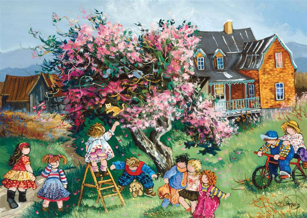 PaulinePaquin Quebec Artiste Kitten in the Tree Ravenbsurger JigsawPuzzles thousand pieces jigsaws p kitten-in-the-tree-pauline-paquin-puzzle