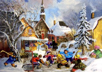 Pauline Paquin Canadian artist beautiful children images ravensburger Canadian Artists Collection ppaquinpenaltykick