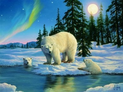 Flourescent Glow in the Dark Jigsaw Puzzle of Polar Bears by Ravensburger Games # 160822 polarbearsglowinthedark