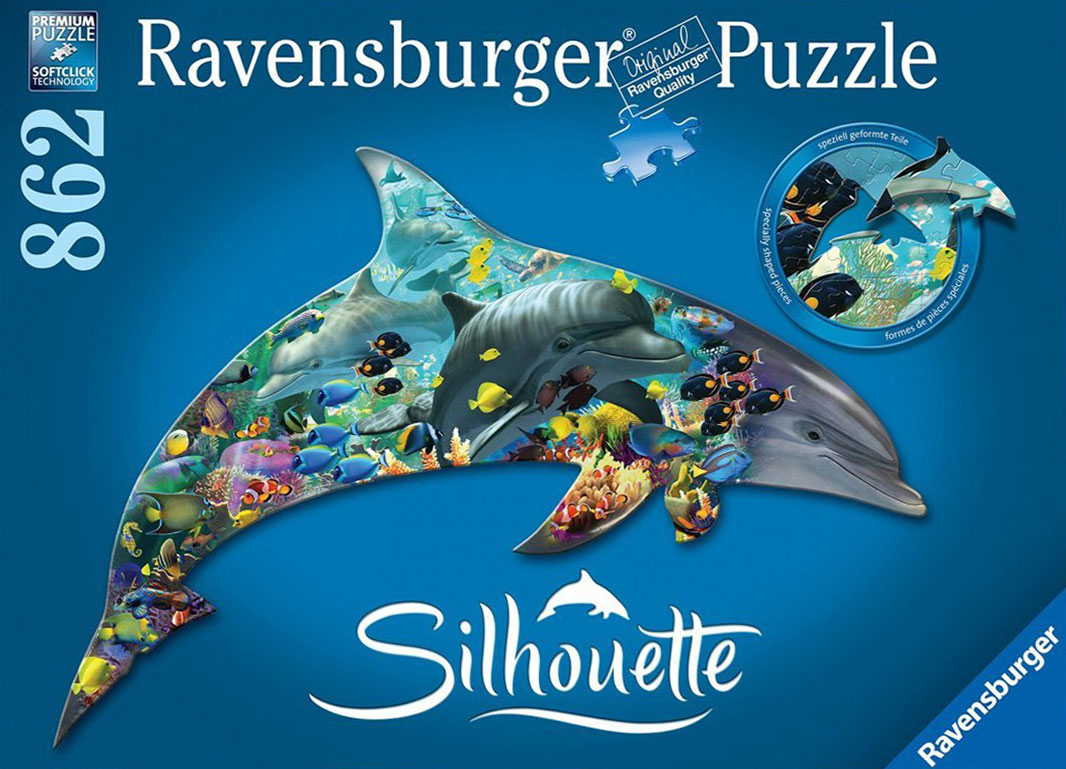 Family of Dolphins Artistic Illustration 1000 Piece Jigsaw Puzzle by Ravensburger Puzzles Germany dolphin-world