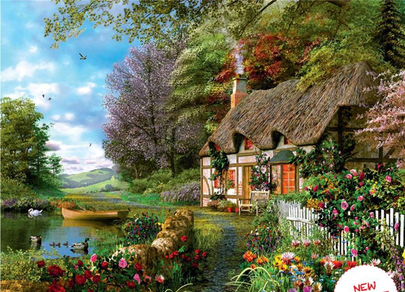 dominic davidson painting of a rural country cottage, 1500 piece jigsaw puzzel by Ravensberger country-cottage