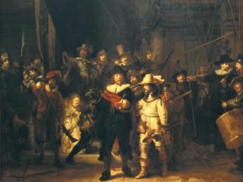 rembrant vanrijn 17th century painting night watch ravensburger 1500 piece jigsaw puzzle # 16205 nightwatch