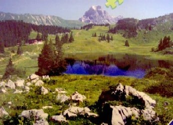ravensburger jigsaw puzzle of Lake Kalbele in Austria photo taken by Louis Bertrand mountainlakeitaly