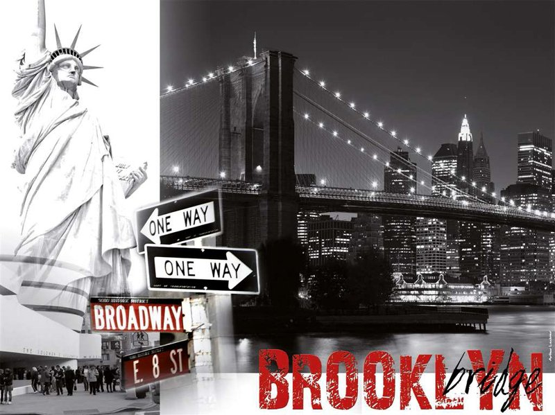 Brooklyn Bridge of New York with the Statue of Liberty in Black & White 1500Piece puzzle by Ravensbu brooklyn-bridge-ny