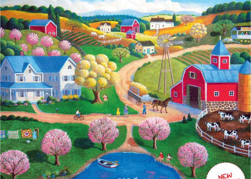 Artist Steve Klein painting of Farm Country by Ravenbsurger JigsawPuzzles thousand pieces jigsaws farm-country-klein