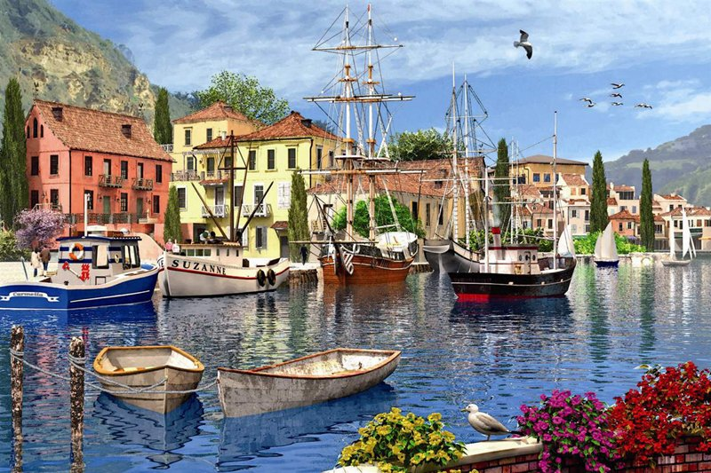 mediteranean harbor painting by domic davison jigsaw puzzle by ravensburger 1500 piece jigsaw puzzel mediterranean-harbor-1500