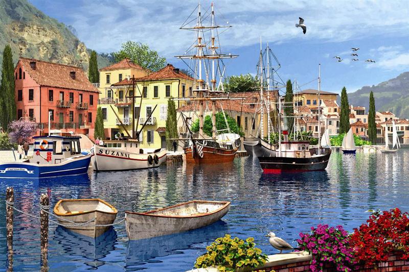 mediteranean harbor painting by domic davison jigsaw puzzle by ravensburger 1500 piece jigsaw puzzel mediterranean-harbor-1500