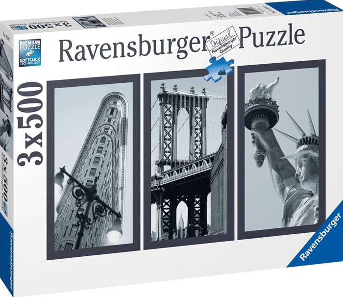 Impressions of New York with the Statue of Libert in Black & White 1500Piece puzzle by Ravensburger impressions-of-new-york