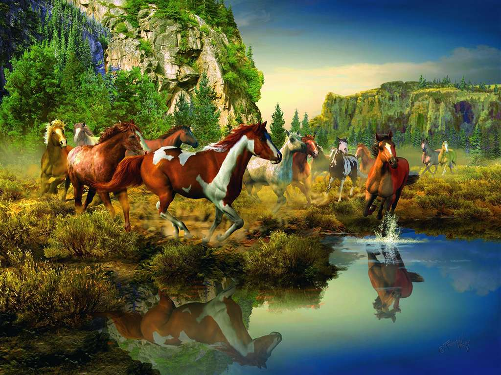 roberta wesley painting of wild horses in a ravensburger 1500 piece jigsaw puzzle # 163045 wild-horses