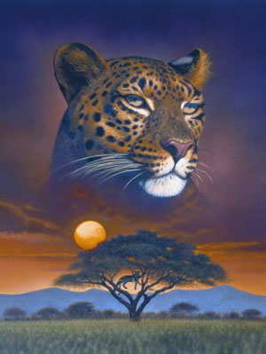 RavensbergerPuzzle Jigsaw 1500Pieces Lord of the Plains Leopard Painting # 163106 michaeljohn lordoftheplains
