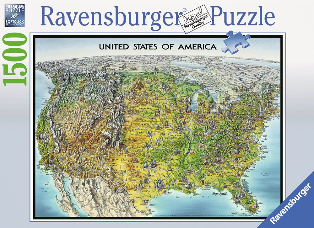 USA Map Ravensburger Jigsaw Puzzle, Map of the United States of America puzzle usa-map-1500