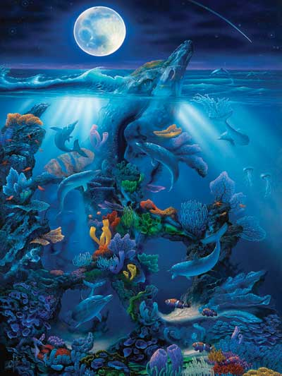Dolphin's Reef Fantasy Artistic Illustration 1500 Piece Jigsaw Puzzle by RavensburgerPuzzles Germany dolphinreef