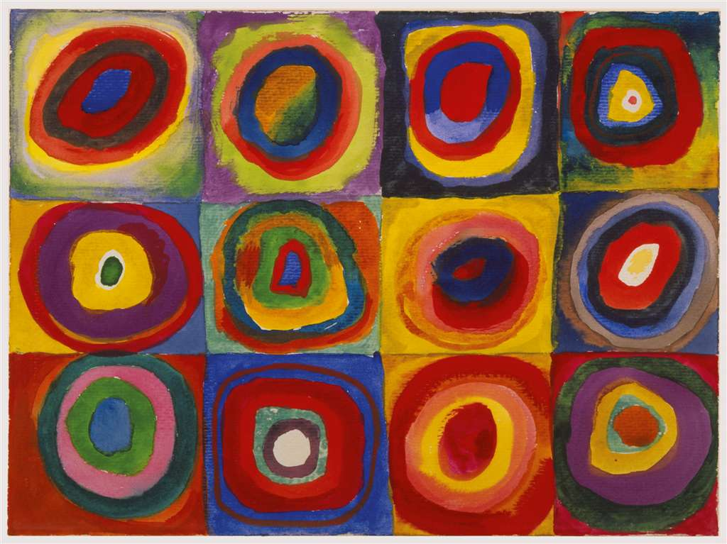 Color Study of Squares and Circles by Kandinsky 1913 Famous Painting by Ravensburger Jigsaw Puzzles  color-study-circles-squares-kandinsky