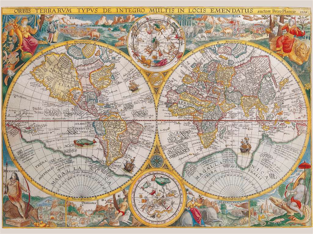 World Map 1594 Historical 1500 Pieces Jigsaw Puzzle by Ravensburger Puzles Germany # 163816 worldmap-1594