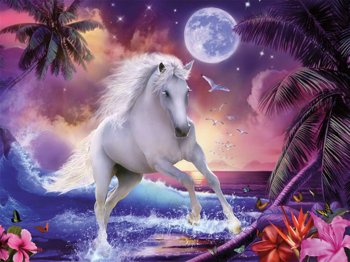 white horse by a cascading surf 1500 piece puzzle ravensburger image by Gilda Belin cascading-surf