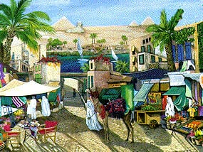 pyramids along the nile painting by sharie hatchet bolman ravebnsurger puzzle jigsaw pyramidsalongnile