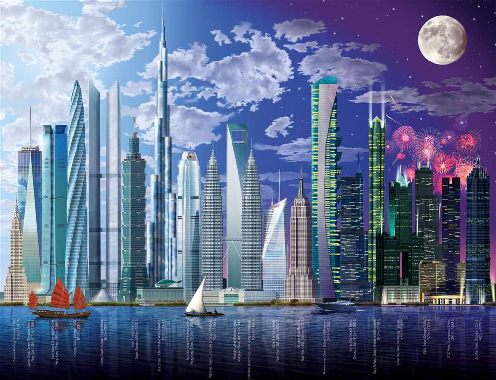 Worlds highest tallest buildings skyscrapers miekle johnm grahpisc 2000Piece puzzle by Ravensburger worlds-highest-buildings