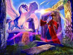 Fantasy Illustrated Art Jigsaw Puzzle of Wizard Fighting Dragon at Stonehenge Ravensburger # 16644 stonehenge