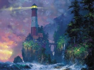 JamesColeman painting Lighthouse Change in Weather Ravensburger 2000Piece JigsawPuzzle # 166459 changeinweather